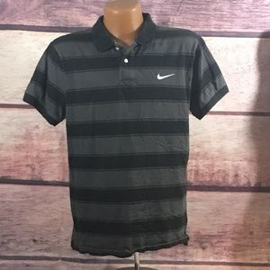 NIKE Polo Shirt Mens Large Black Short Sleeve